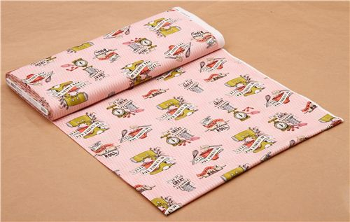 Pink In The Kitchen Vintage Appliances Fabric By Robert Kaufman USA 3