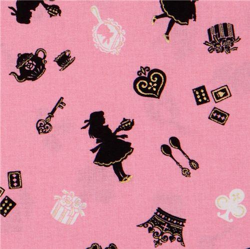 tissu japonais rose alice au pays des merveilles cosmo. Black Bedroom Furniture Sets. Home Design Ideas