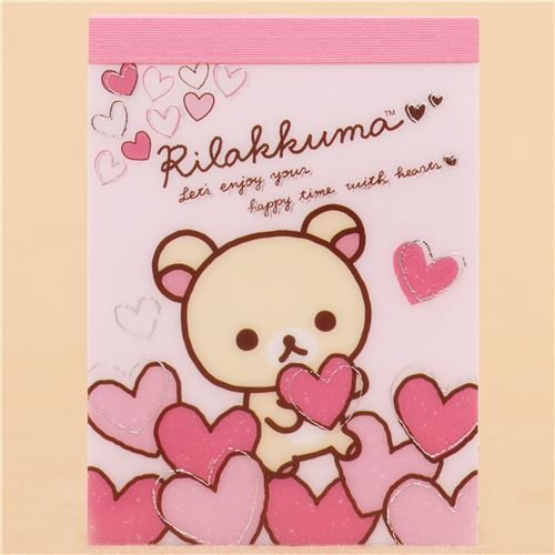 Pink japanese white rilakkuma bear hearts mini note pad san x memo pink japanese white rilakkuma bear hearts mini note pad san x 1 m4hsunfo