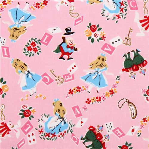 Pink Kokka Alice In Wonderland Fairy Tale Fabric From