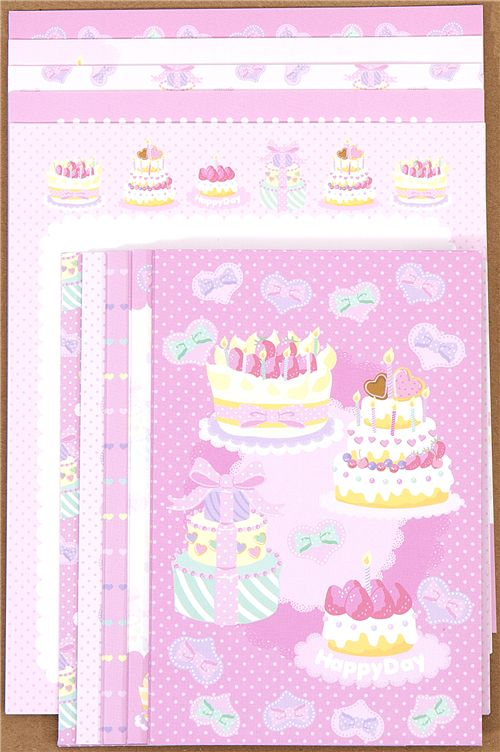 pink letter paper with birthday cake hearts
