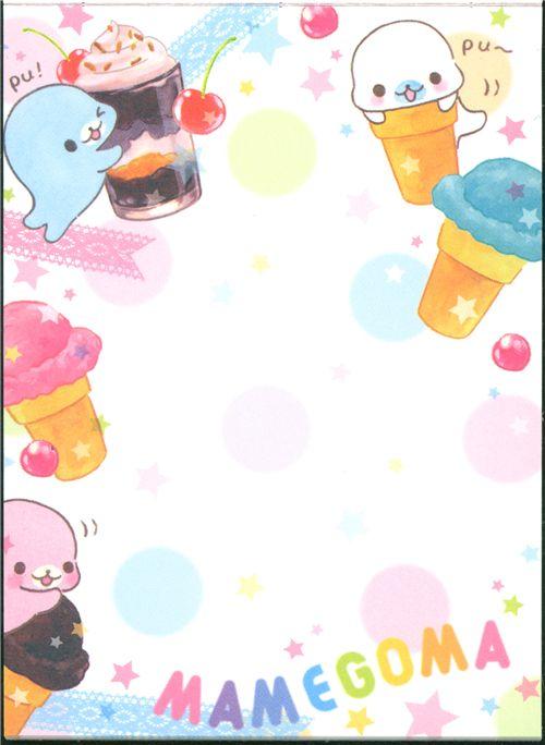 pink Mamegoma baby seals mini Memo Pad ice cream cup - Blocs de ...