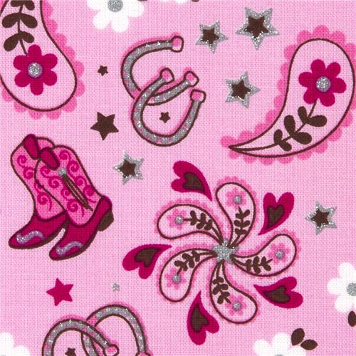 Pink michael miller fabric pony horseshoe western boots for Horse fabric for kids