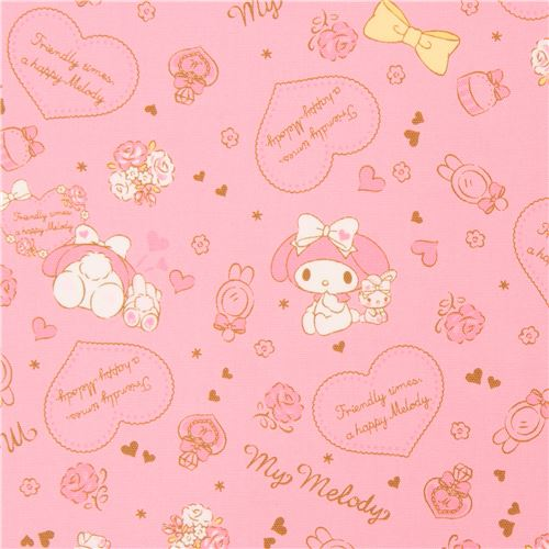 Pink my melody rabbit heart flower bow oxford fabric sanrio fabric pink my melody rabbit heart flower bow oxford fabric 1 mightylinksfo