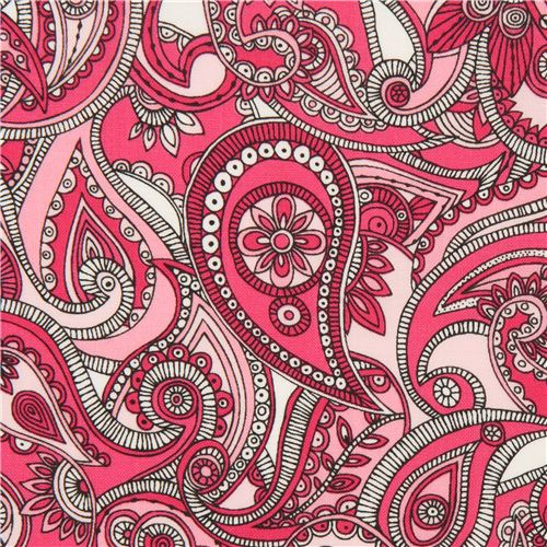 Pink Paisley Pattern And Flower Fabric By Robert Kaufman 1