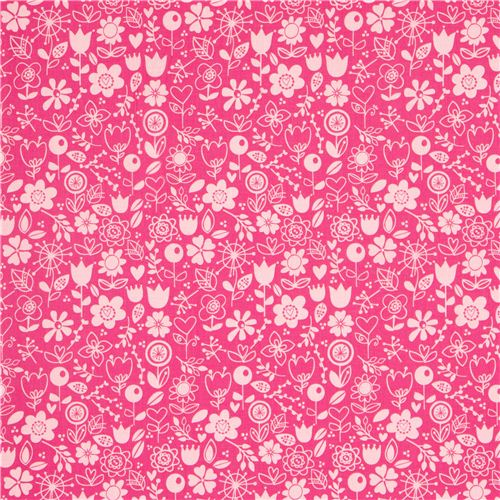 Pink Riley Blake Fabric With Funny Flowers Heart Leaf