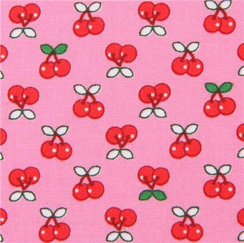 rosa stoff mit kleinen kirschen von robert kaufman essen stoffe stoffe kawaii shop modes4u. Black Bedroom Furniture Sets. Home Design Ideas