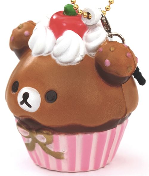pink and brown Rilakkuma bear cupcake squishy cellphone charm - Food Squishies - Squishies ...