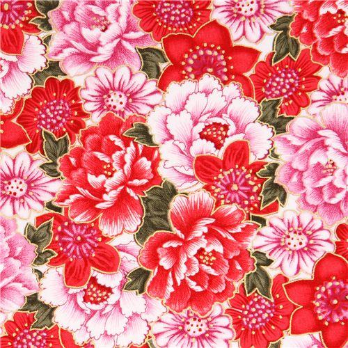 pink and red cherry blossom asia glitter fabric sakura blank