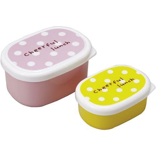 Mini scatole porta pranzo bento rosa e gialle a pois - Porta merenda bimbi ...