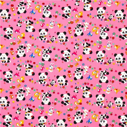 Pink Baby Panda Bear Fabric Mushrooms Flowers Kawaii 2