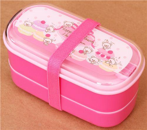 pinke b r und macarons bento box brotdose bento box bento boxen kawaii shop modes4u. Black Bedroom Furniture Sets. Home Design Ideas