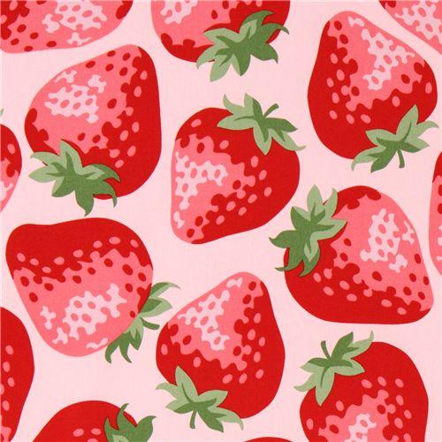 pink big strawberry fabric from Kokka Japan - Food Fabric