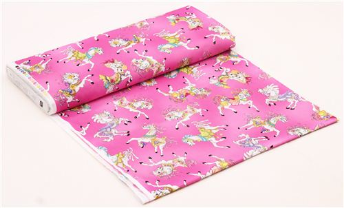 pink carousel horse fabric Carousel by Quilting Treasures - Animal ... : horse fabric for quilting - Adamdwight.com