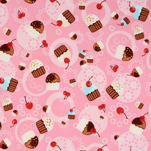Tessuto Rosa Cupcake Ciliegie Robert Kaufman Kawaii Modes4u