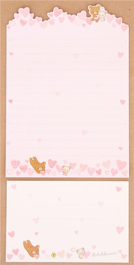 pink die-cute Rilakkuma bear hearts letter paper set ...