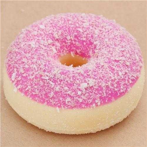 Squishy Pink Donut : pink donut with white flake squishy - Food Squishy - Squishies - Kawaii Shop modeS4u