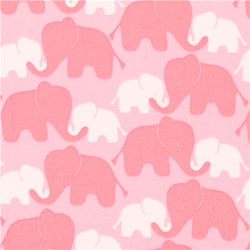 Pink elephant with baby fabric camelot imaginarium for Childrens elephant fabric