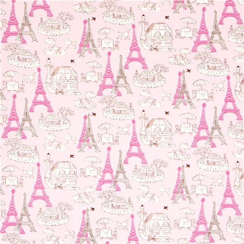 As Creation Pink Paris Pattern Eiffel Tower Childrens: Pink Fabric Paris Eiffel Tower Bistro By Robert Kaufman