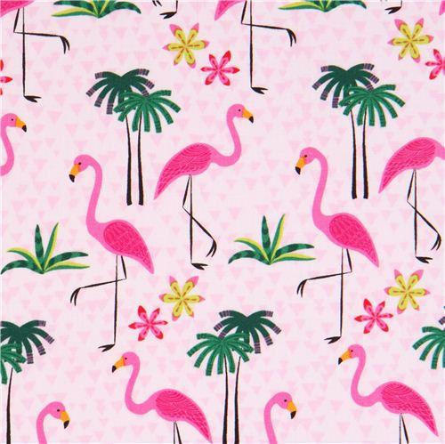 Rosa flamingo palmen tier stoff timeless treasures usa - Tessuti fiorati ...