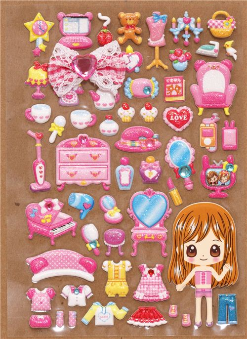 Pink Girls Room Sponge Stickers With Girl Dress Up Doll