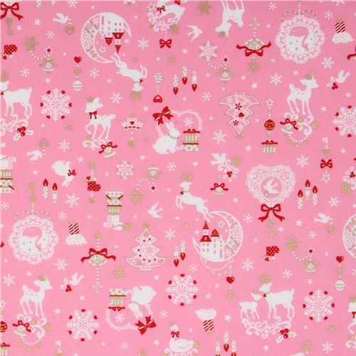 pink kawaii Christmas fabric Bambi bunny glitter Japan, Christmas ...