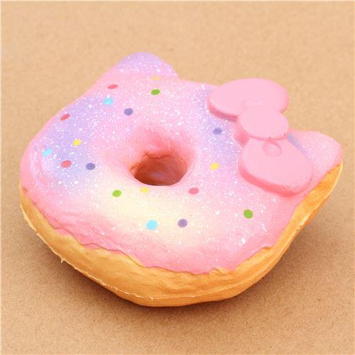 Squishy Pink Donut : pink light purple colorful dot Hello Kitty donut squishy charm - Food Squishy - Squishies ...