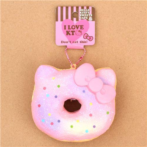 Pink Light Purple Colorful Dot Hello Kitty Donut Squishy Charm 4