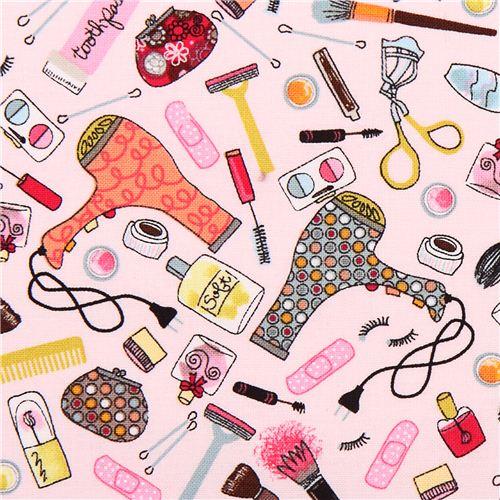 Pink make up girl fabric timeless treasures dress up diva for Accesorios para salon de belleza