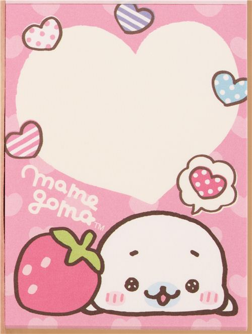 pink mini note pad mamegoma baby seal strawberry memo