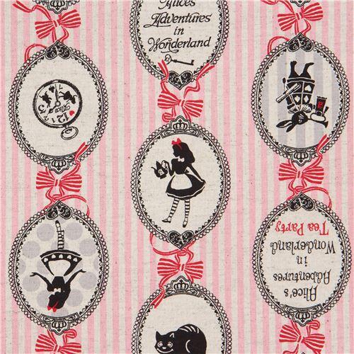 Pink Natural Color Stripe Lecien Canvas Fabric Alice In Wonderland