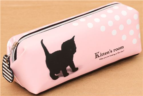 Pink Polka Dot Cat Pencil Case From Japan Pencil Cases