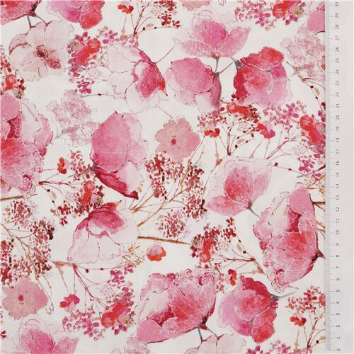 Cartoon Cats Rabbit Floral Cotton Fabric Pink Flower Cotton 12 Yard