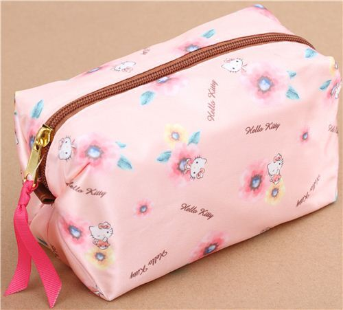 f3a29aa84a4 pink soft shiny Hello Kitty flower pencil case by Kamio from Japan ...