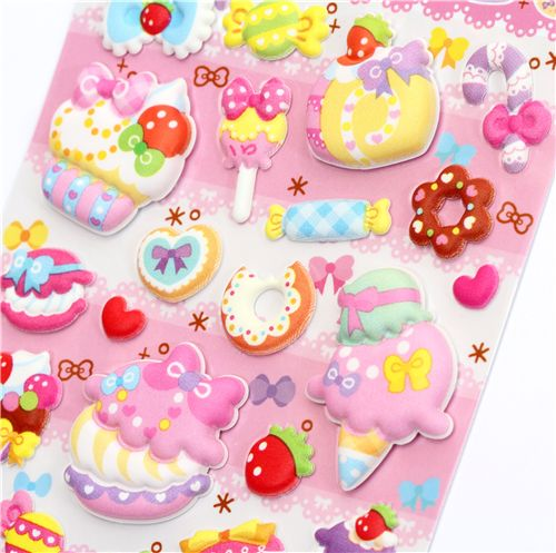 pink sponge 3d sticker cupcakes macaroons sticker sheets