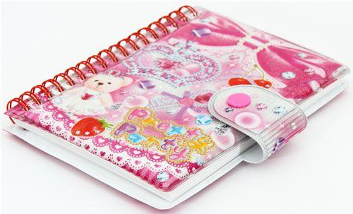 pink sticker collection book crown bear glitter cherry memo pads stationery kawaii shop. Black Bedroom Furniture Sets. Home Design Ideas