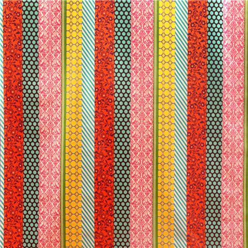 Pipi Echino Canvas Fabric Orange Brown Flower Dot Echino