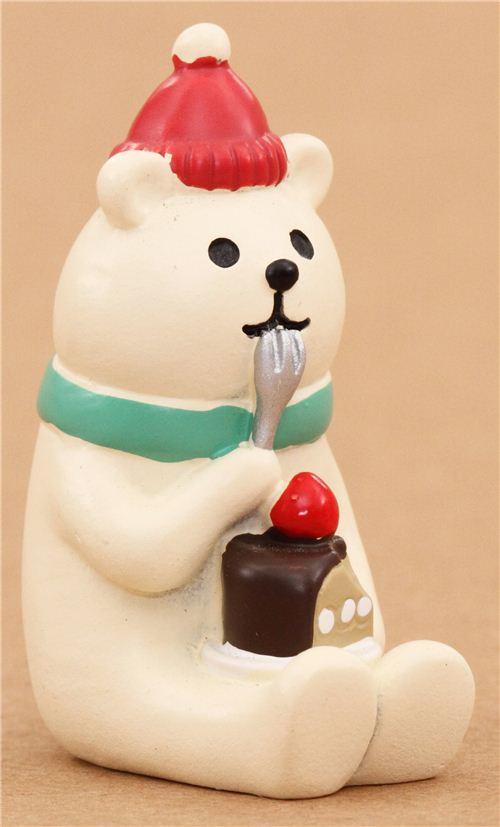 Polar Bear With Cake Christmas Figurine Japan Modes4u