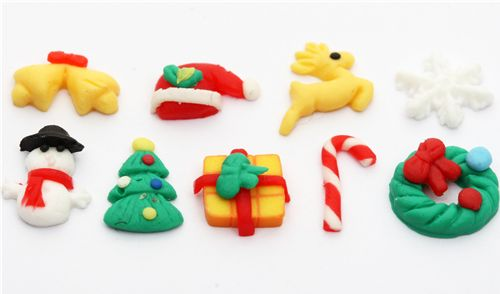cute kawaii christmas clay mini deco 5 pieces - Miniature ...