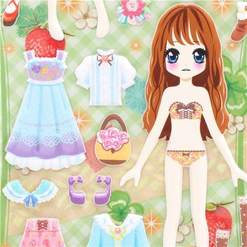 Pegatinas Esponjosas Muñecas Vestir Vestido Colores Cuenta Brillante Crux