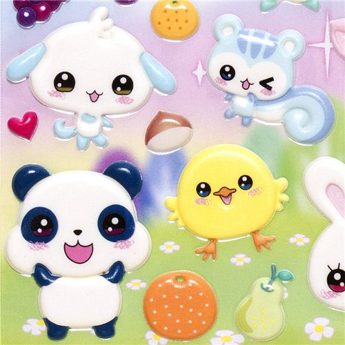Puffy Stickers With Kawaii Animals Rabbit Cat Bear