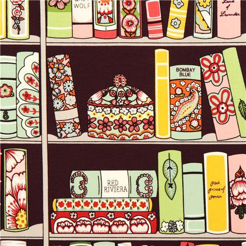 Purple Alexander Henry Bookshelf Fabric With Books 1