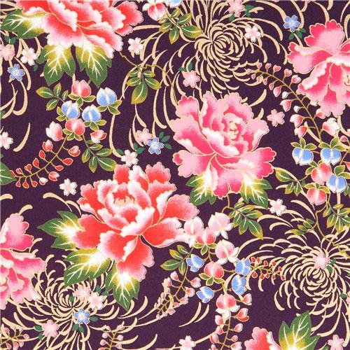 Tissu Violet Asiatique Avec Des Fleurs D Asie Avec Des