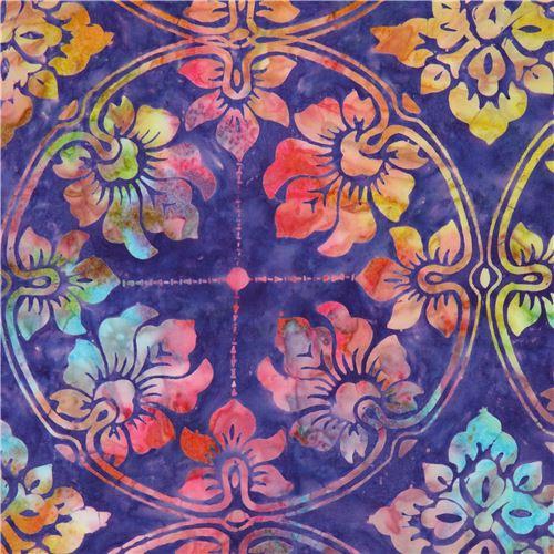 Tissu Timeless Treasures Batik Violet Avec Des Cercles Et