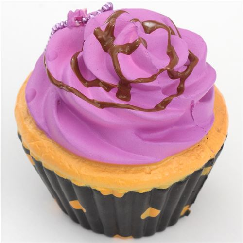 Purple Icing Black Base Cupcake Squishy Charm Cellphone