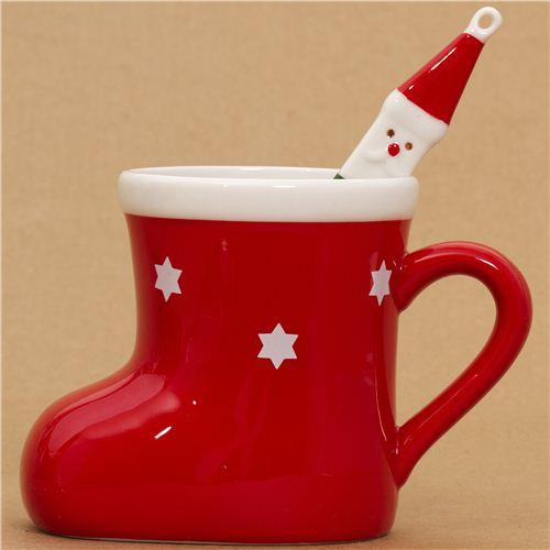 tasse rouge en forme de botte de no l cuill re p re no l tasses mugs bo tes bento. Black Bedroom Furniture Sets. Home Design Ideas