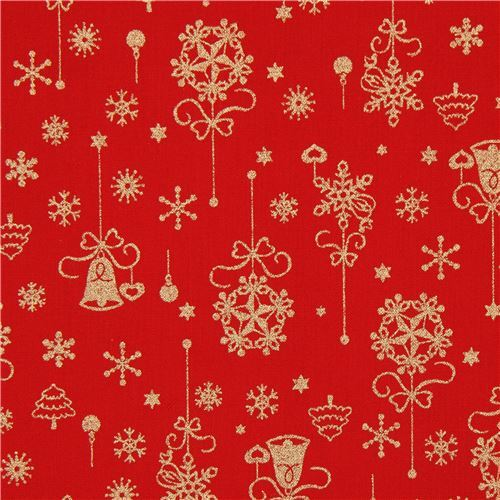 Red Christmas.Red Christmas Fabric From Japan With Metallic Gold Decorations And Snowflakes