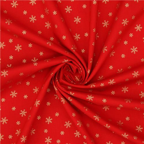 Red Christmas.Red Christmas Fabric From Japan With Metallic Gold Snowflakes