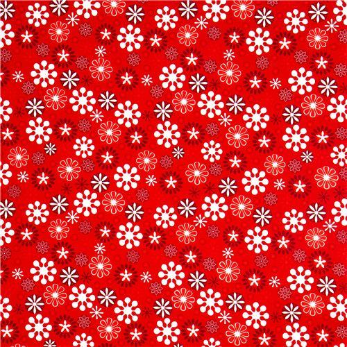red Christmas fabric star snowflake Robert Kaufman - Christmas ...