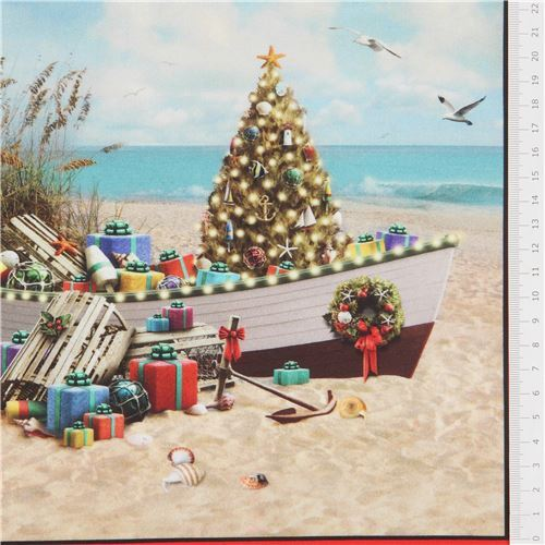 Beach Christmas.Red Elizabeth S Studio Christmas At The Beach Panel Fabric